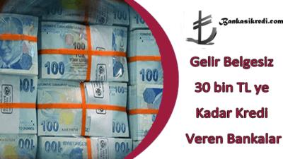 Gelir Belgesiz 30 bin TL ye Kadar Kredi Veren Bankalar